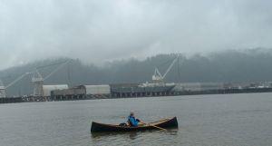 rowing near swan