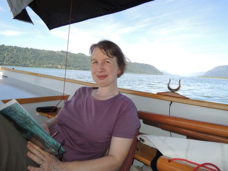 And for my bride, fun on a boat is reading in the shade, while anchored in the Columbia Gorge.