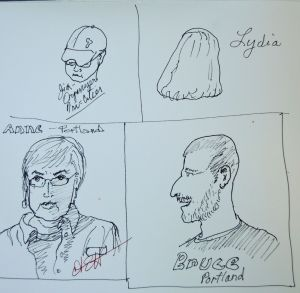 And yet another sketch by a different person. Can you pick me out of the line up?