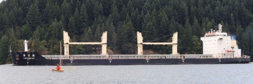 Bill keeps his distance from a bulk carrier. I call them log ships.